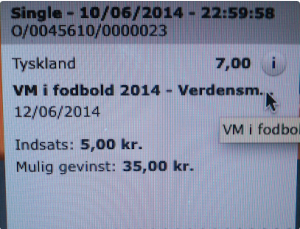 Germany to win World Cup. 5 kroners bet to win 35!