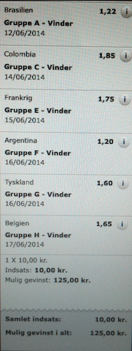 Group winners: Brazil, Colombia, France, Argentina, Germany, Belgium. 10 kroner to win 125!