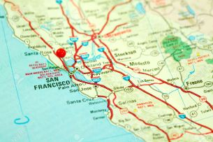 2405067-Map-of-San-Francisco-Bay-Area-with-Red-Pin-in-City-Stock-Photo